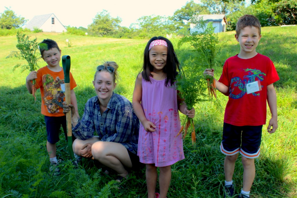 Kids harvest summer carrots (Rebekah Carter 2014)