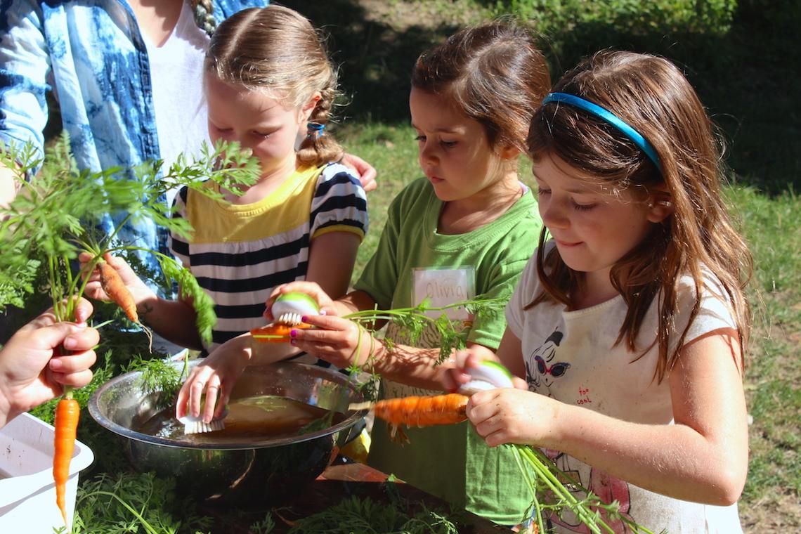 Kids scrub carrots (Rebekah Carter 2014)
