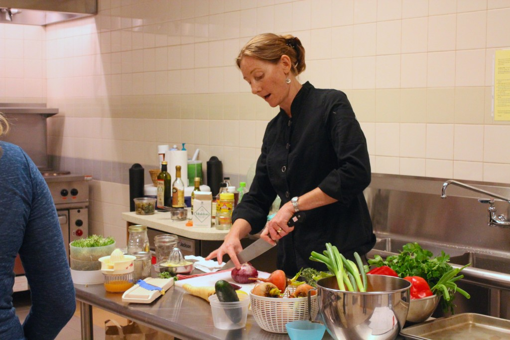Chef Karina Hines leads a cooking workshop (Rebekah Carter 2014)