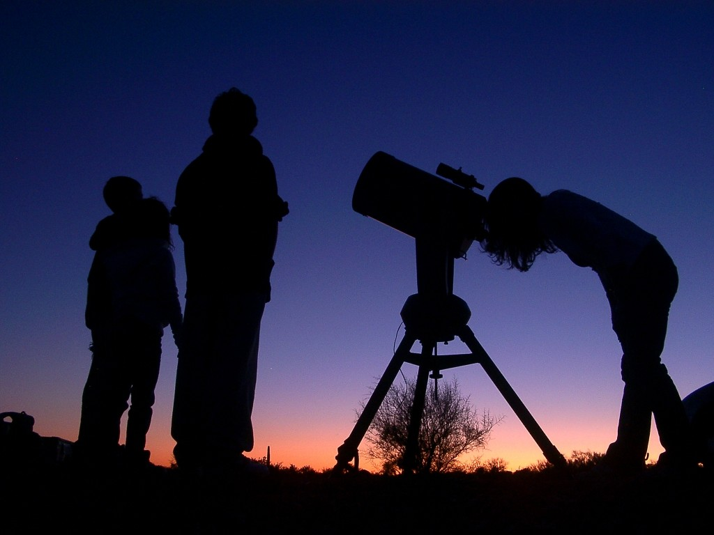 Stargazing with telescope