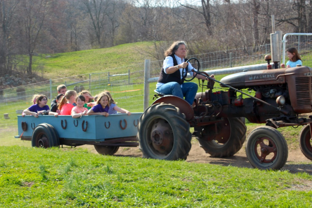 Spring campers enjoy a wagon ride via the 1947 Farmall tractor (Rebekah Carter 2014)